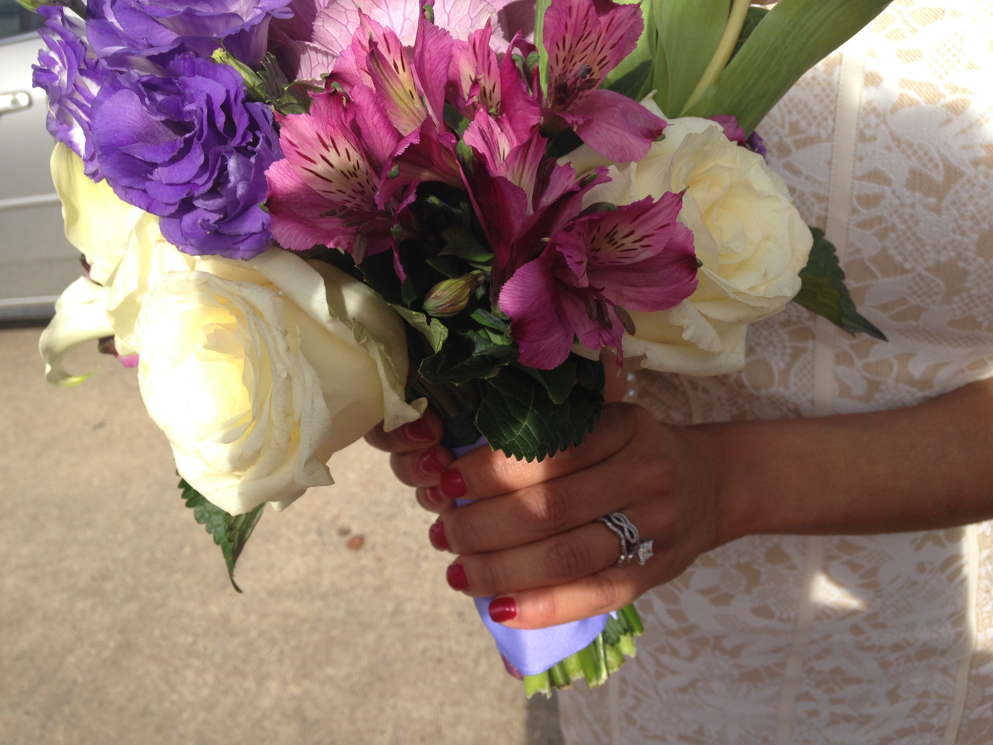 Tulips, Antique Pink + Green Hydrangeas, Cream Roses,  Lisianthus, &Ornamental Cabbage
