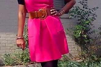 Hot Pink Bevello Dress