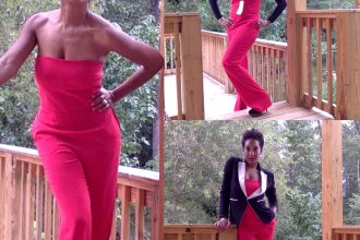 Red Rachel Roy Jumpsuit | Catenya.com