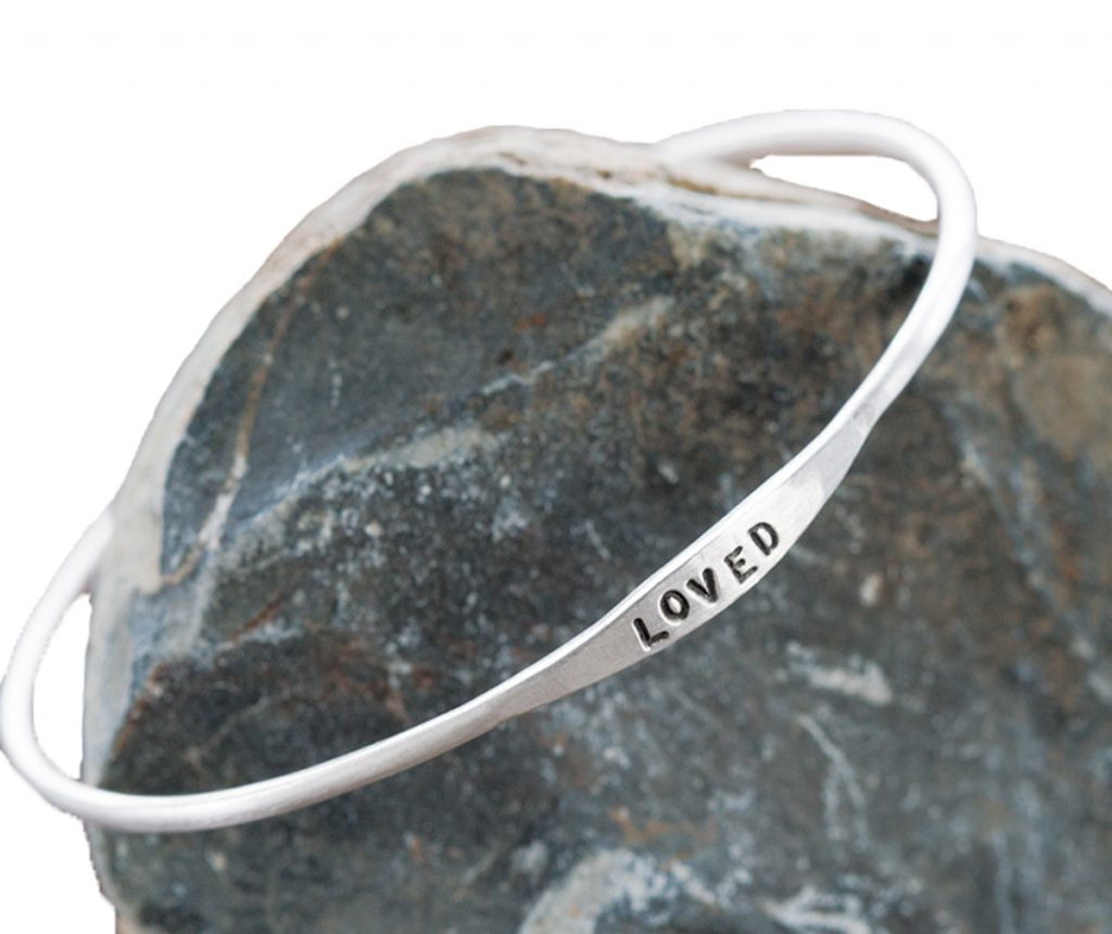 Olive & Cocoa Loved Silver Bangle silho